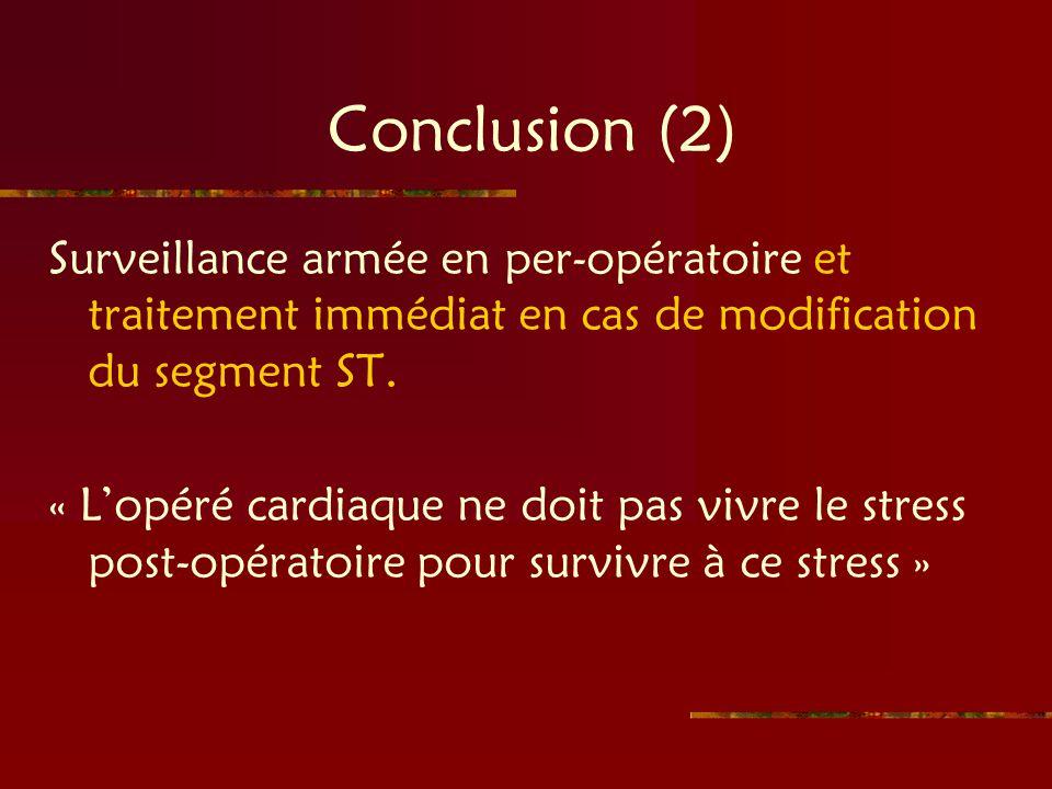 Conclusion (2) Surveillance armée en per-opératoire et traitement immédiat en cas de modification du segment ST.