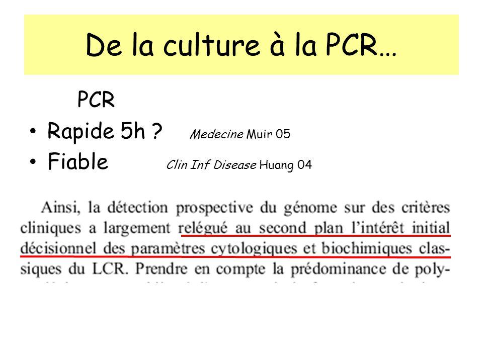 De la culture à la PCR… PCR Rapide 5h Medecine Muir 05