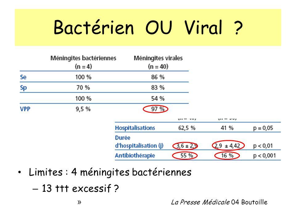 Bactérien OU Viral Limites : 4 méningites bactériennes