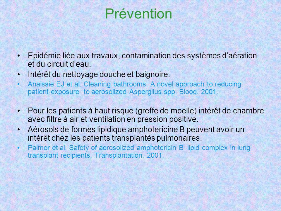 Prévention Epidémie liée aux travaux, contamination des systèmes d'aération et du circuit d'eau. Intérêt du nettoyage douche et baignoire.