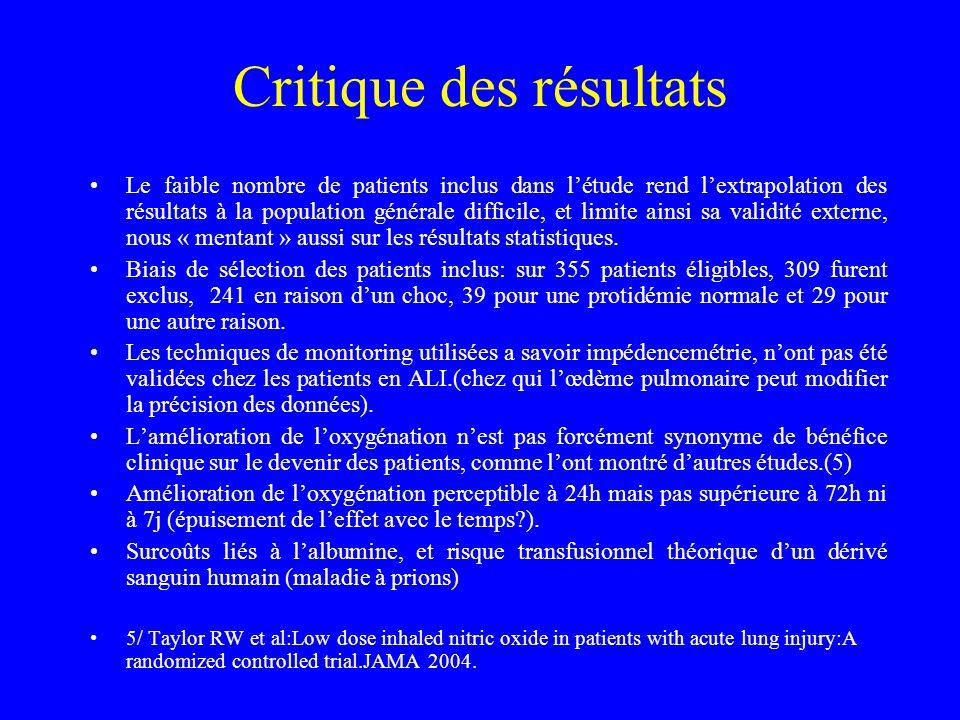 Critique des résultats