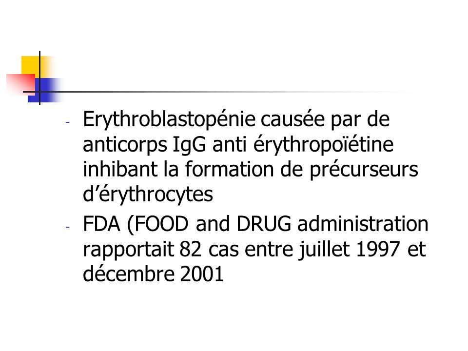 Erythroblastopénie causée par de anticorps IgG anti érythropoïétine inhibant la formation de précurseurs d'érythrocytes