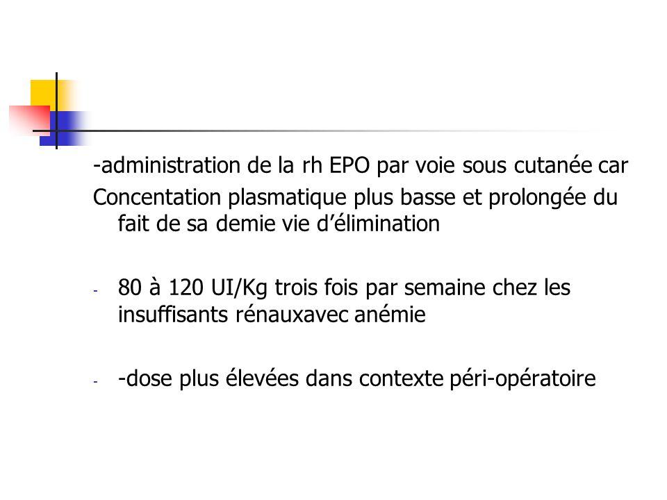 -administration de la rh EPO par voie sous cutanée car
