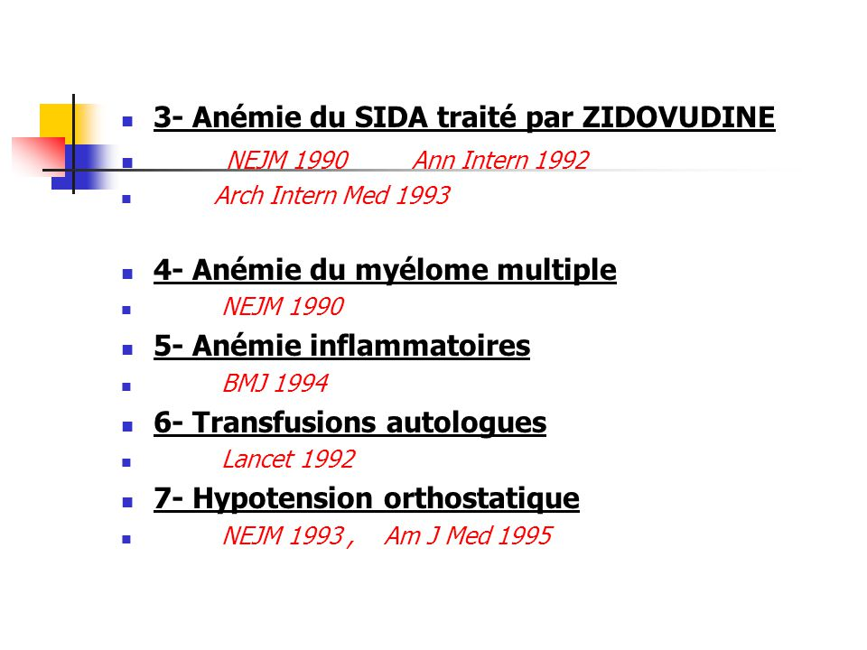 3- Anémie du SIDA traité par ZIDOVUDINE NEJM 1990 Ann Intern 1992