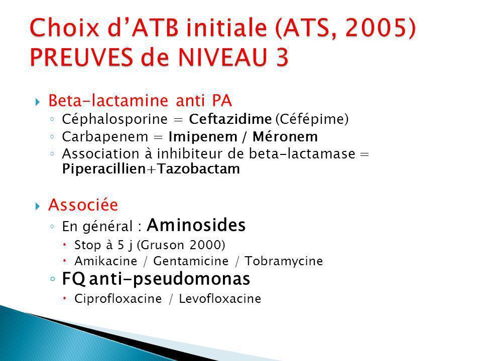 Choix d'ATB initiale (ATS, 2005) PREUVES de NIVEAU 3