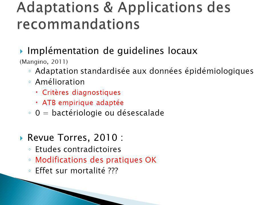 Adaptations & Applications des recommandations