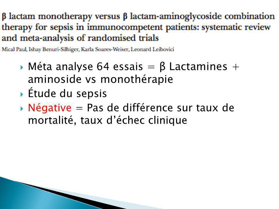 Méta analyse 64 essais = β Lactamines + aminoside vs monothérapie