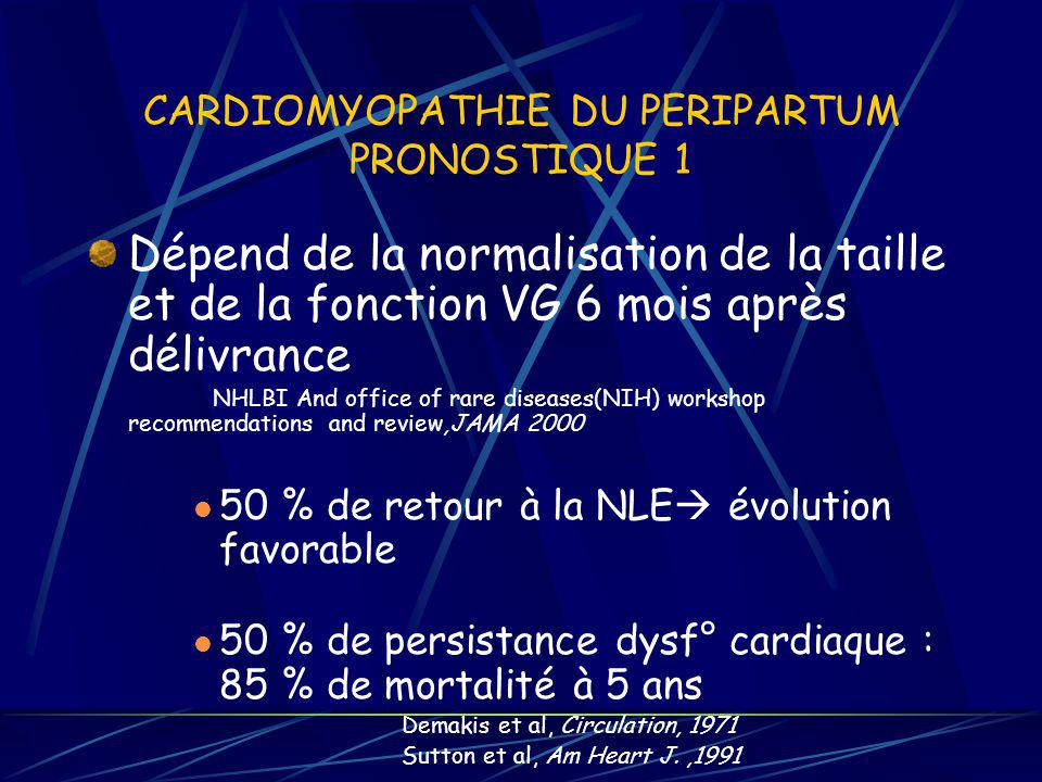 CARDIOMYOPATHIE DU PERIPARTUM PRONOSTIQUE 1