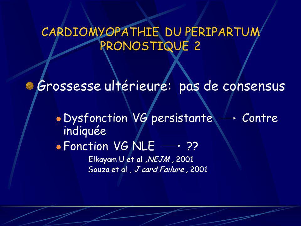 CARDIOMYOPATHIE DU PERIPARTUM PRONOSTIQUE 2