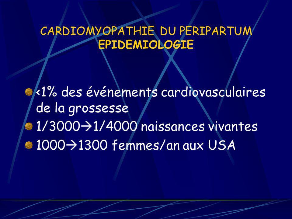 CARDIOMYOPATHIE DU PERIPARTUM EPIDEMIOLOGIE