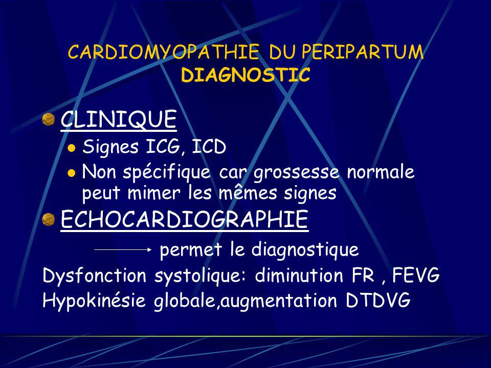 CARDIOMYOPATHIE DU PERIPARTUM DIAGNOSTIC