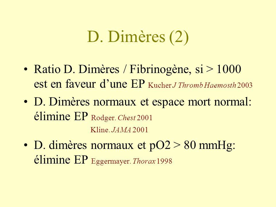 D. Dimères (2) Ratio D. Dimères / Fibrinogène, si > 1000 est en faveur d'une EP Kucher J Thromb Haemosth 2003.