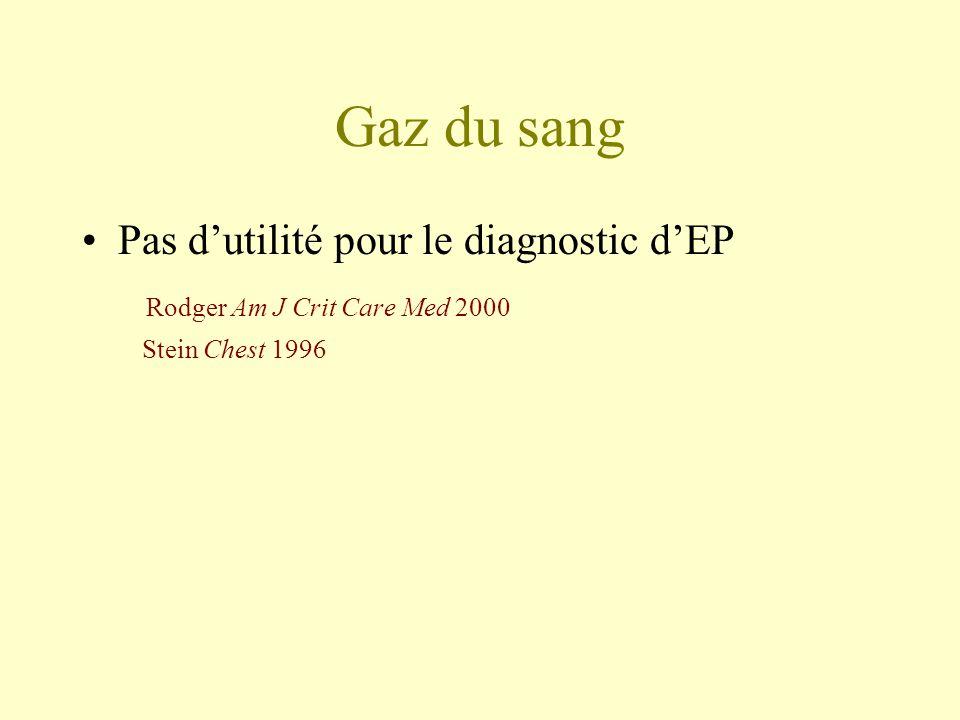 Gaz du sang Pas d'utilité pour le diagnostic d'EP