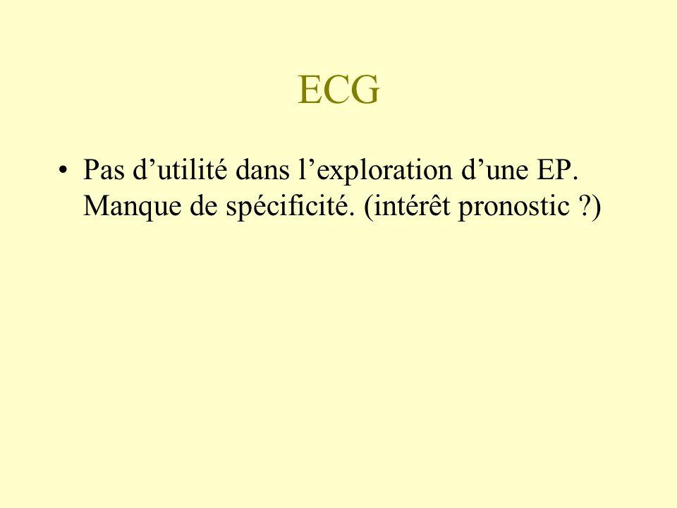 ECG Pas d'utilité dans l'exploration d'une EP. Manque de spécificité. (intérêt pronostic )