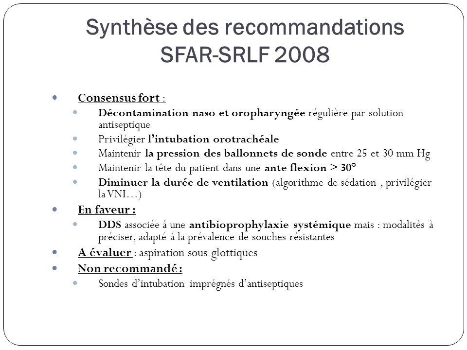 Synthèse des recommandations SFAR-SRLF 2008