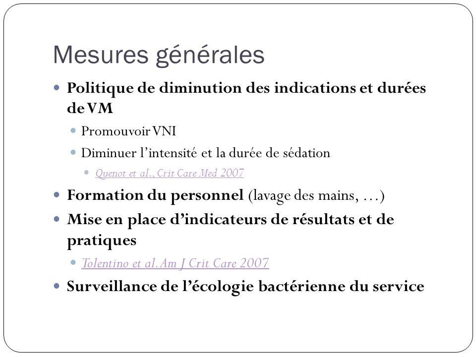 Mesures générales Politique de diminution des indications et durées de VM. Promouvoir VNI. Diminuer l'intensité et la durée de sédation.