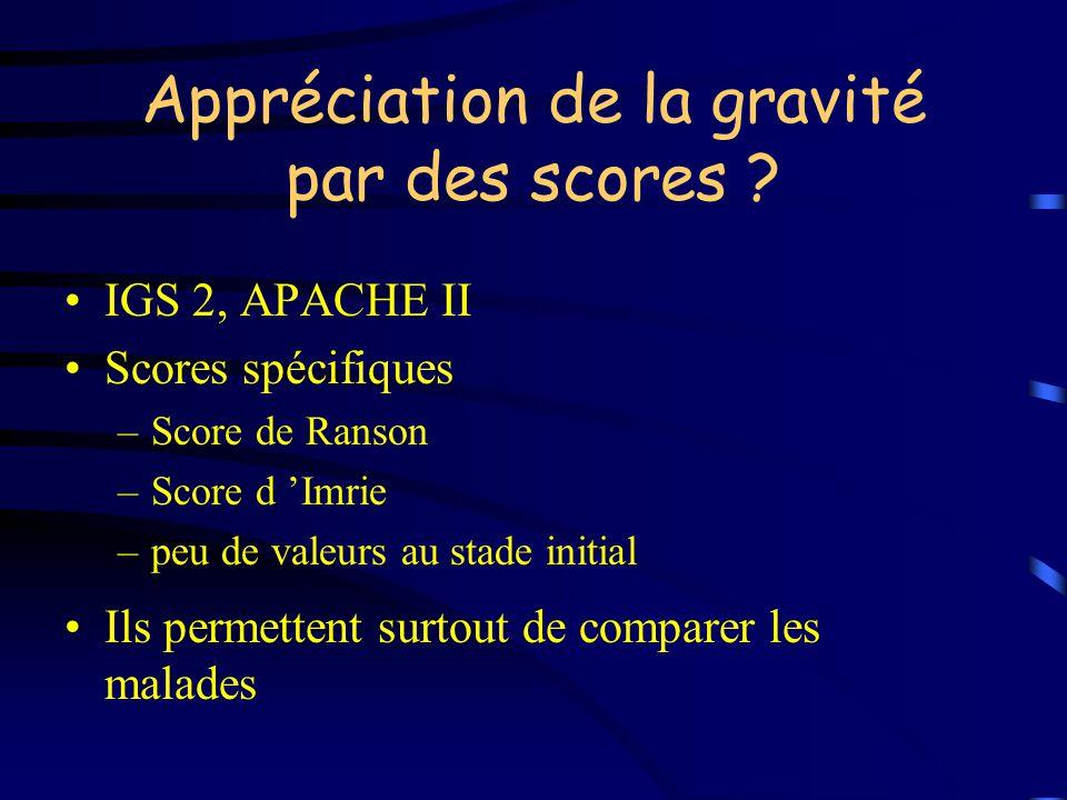 Appréciation de la gravité par des scores