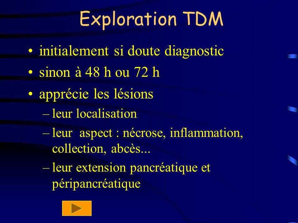 Exploration TDM initialement si doute diagnostic sinon à 48 h ou 72 h