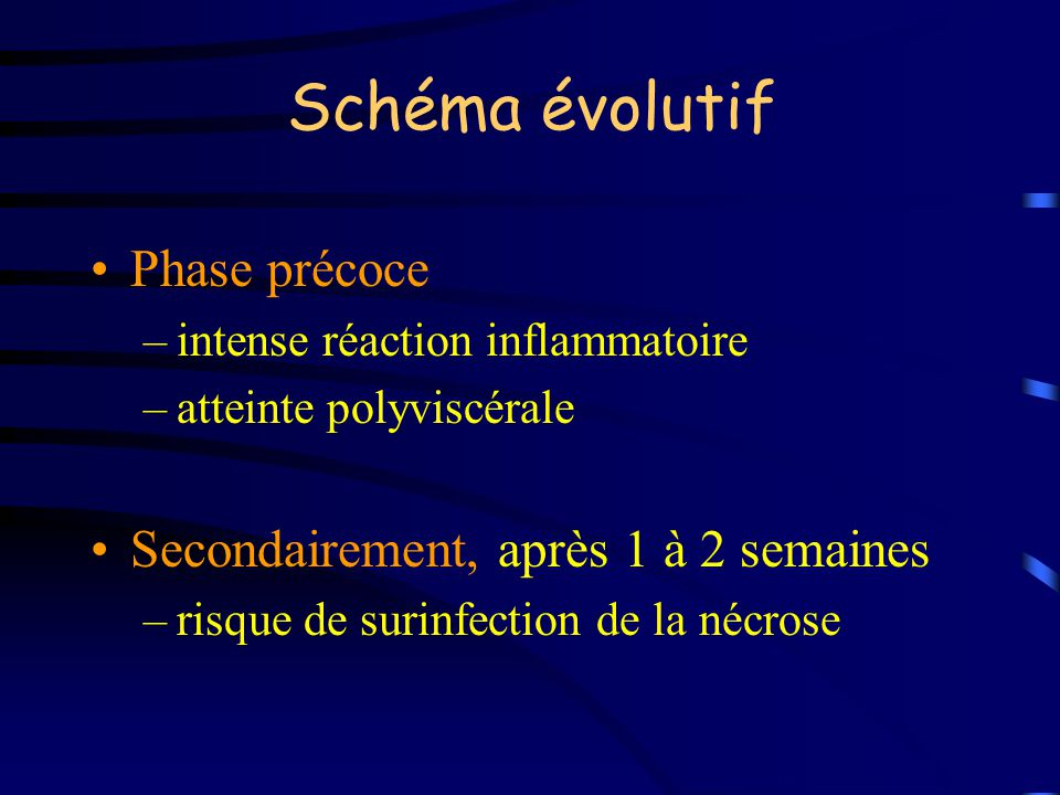 Schéma évolutif Phase précoce Secondairement, après 1 à 2 semaines