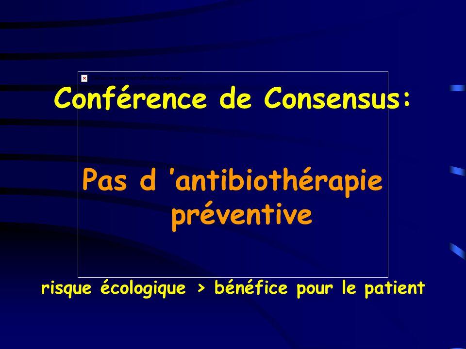 Conférence de Consensus: Pas d 'antibiothérapie préventive