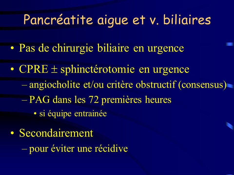 Pancréatite aigue et v. biliaires