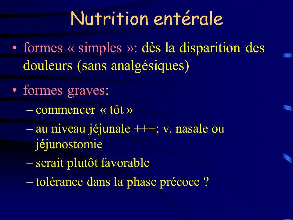 Nutrition entérale formes « simples »: dès la disparition des douleurs (sans analgésiques) formes graves:
