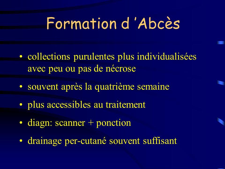 Formation d 'Abcès collections purulentes plus individualisées avec peu ou pas de nécrose. souvent après la quatrième semaine.