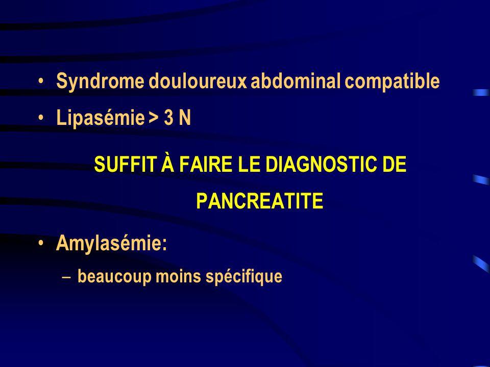 SUFFIT À FAIRE LE DIAGNOSTIC DE PANCREATITE