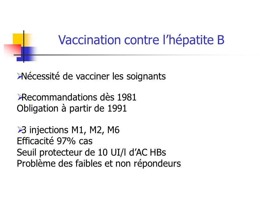 Vaccination contre l'hépatite B