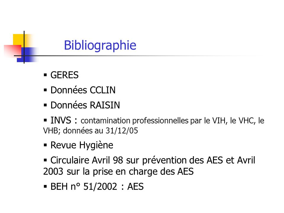 Bibliographie GERES Données CCLIN Données RAISIN