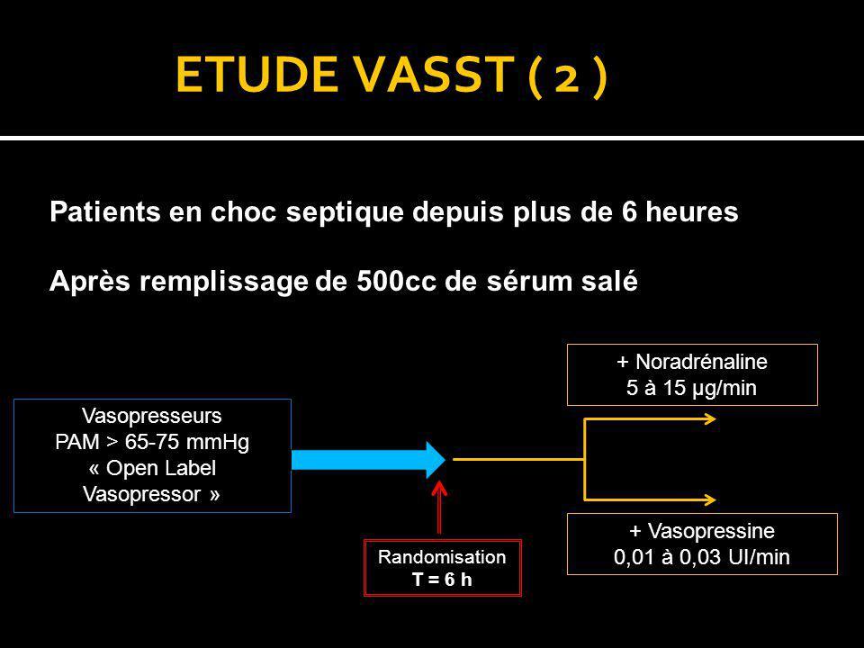 ETUDE VASST ( 2 ) Patients en choc septique depuis plus de 6 heures