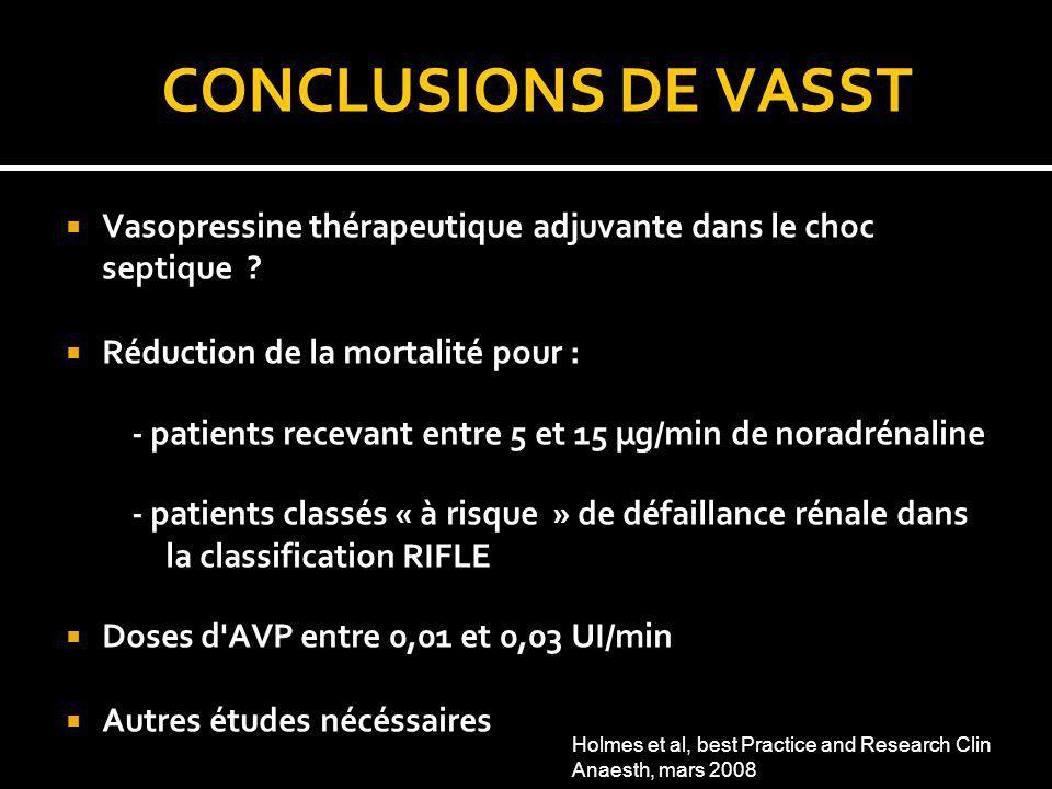 CONCLUSIONS DE VASST Vasopressine thérapeutique adjuvante dans le choc septique Réduction de la mortalité pour :