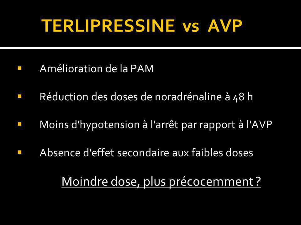 TERLIPRESSINE vs AVP Amélioration de la PAM