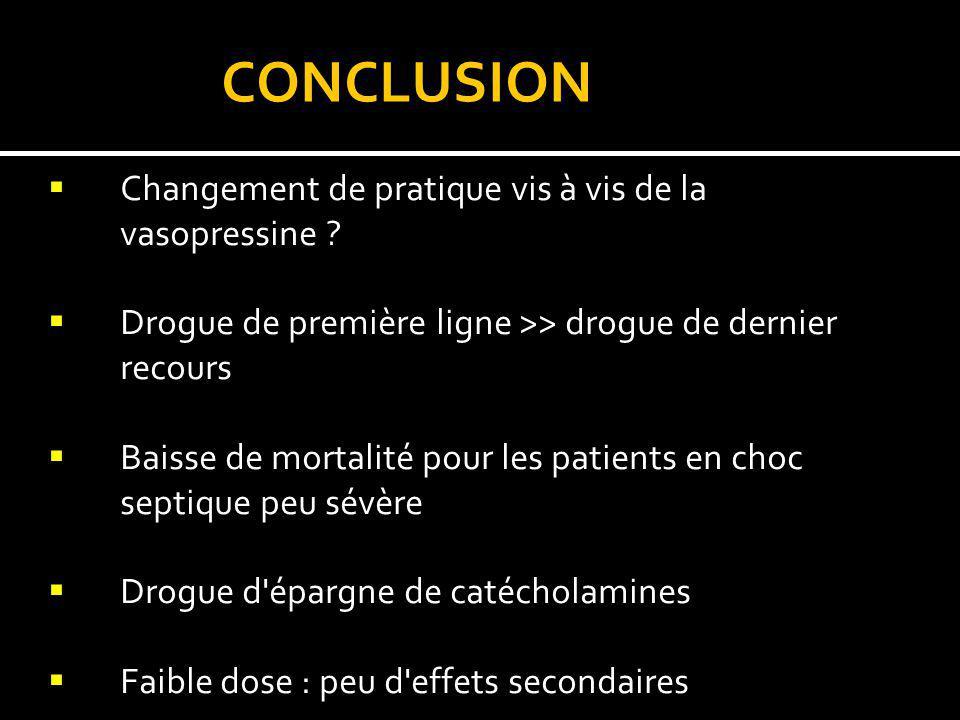CONCLUSION Changement de pratique vis à vis de la vasopressine
