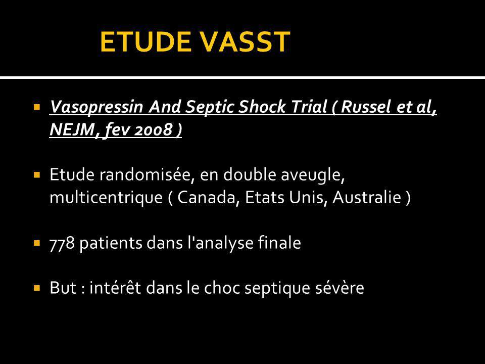 ETUDE VASST Vasopressin And Septic Shock Trial ( Russel et al, NEJM, fev 2008 )