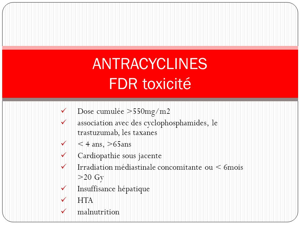 ANTRACYCLINES FDR toxicité