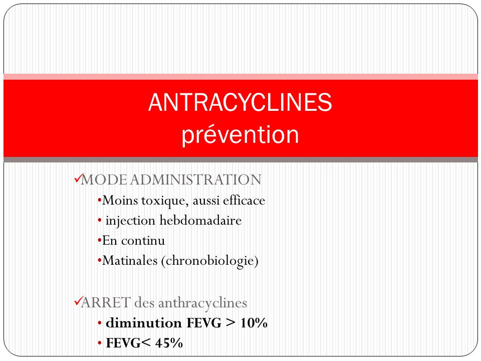 ANTRACYCLINES prévention