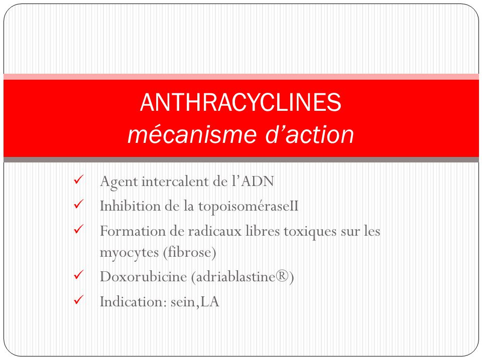 ANTHRACYCLINES mécanisme d'action