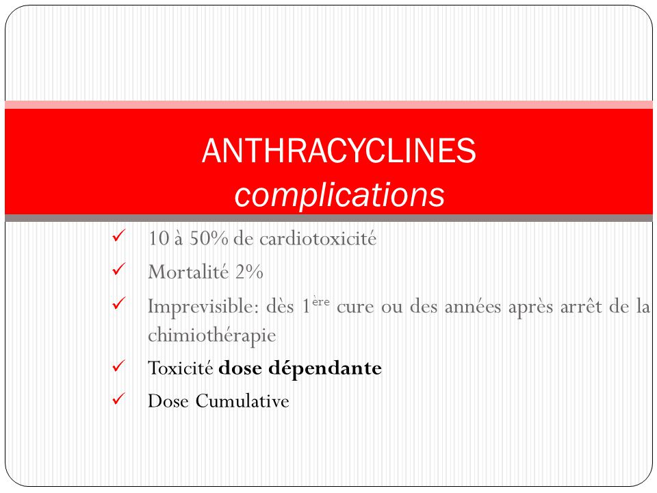 ANTHRACYCLINES complications 10 à 50% de cardiotoxicité Mortalité 2%