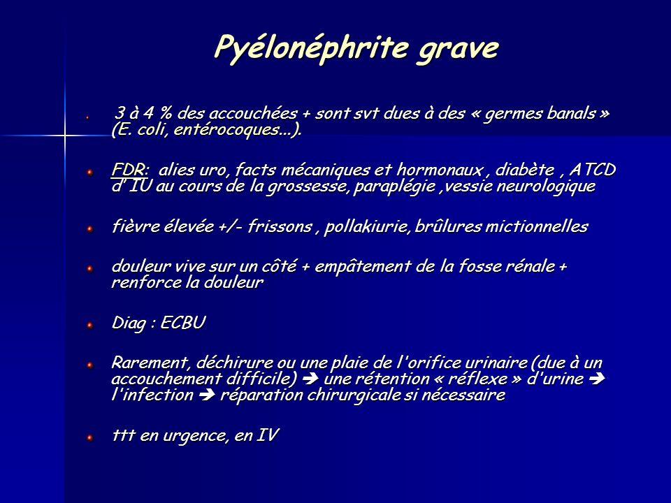 Pyélonéphrite grave 3 à 4 % des accouchées + sont svt dues à des « germes banals » (E. coli, entérocoques...).