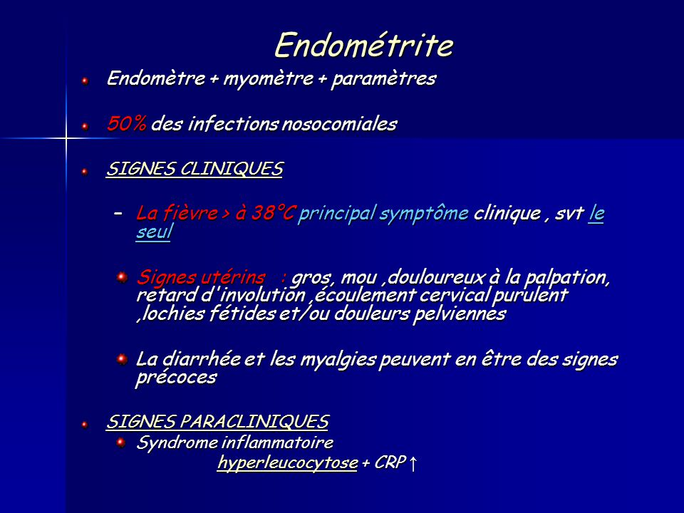 Endométrite Endomètre + myomètre + paramètres