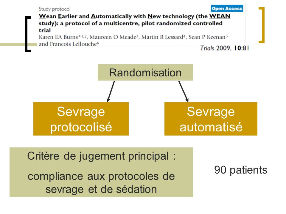 Sevrage protocolisé Sevrage automatisé Randomisation