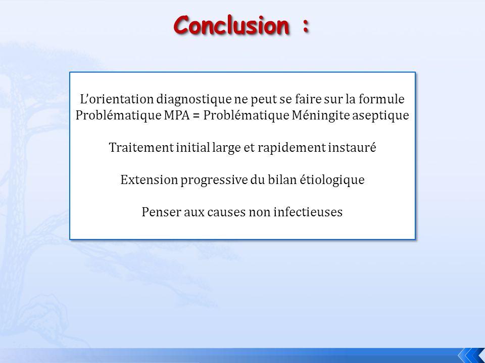Conclusion : L'orientation diagnostique ne peut se faire sur la formule. Problématique MPA = Problématique Méningite aseptique.