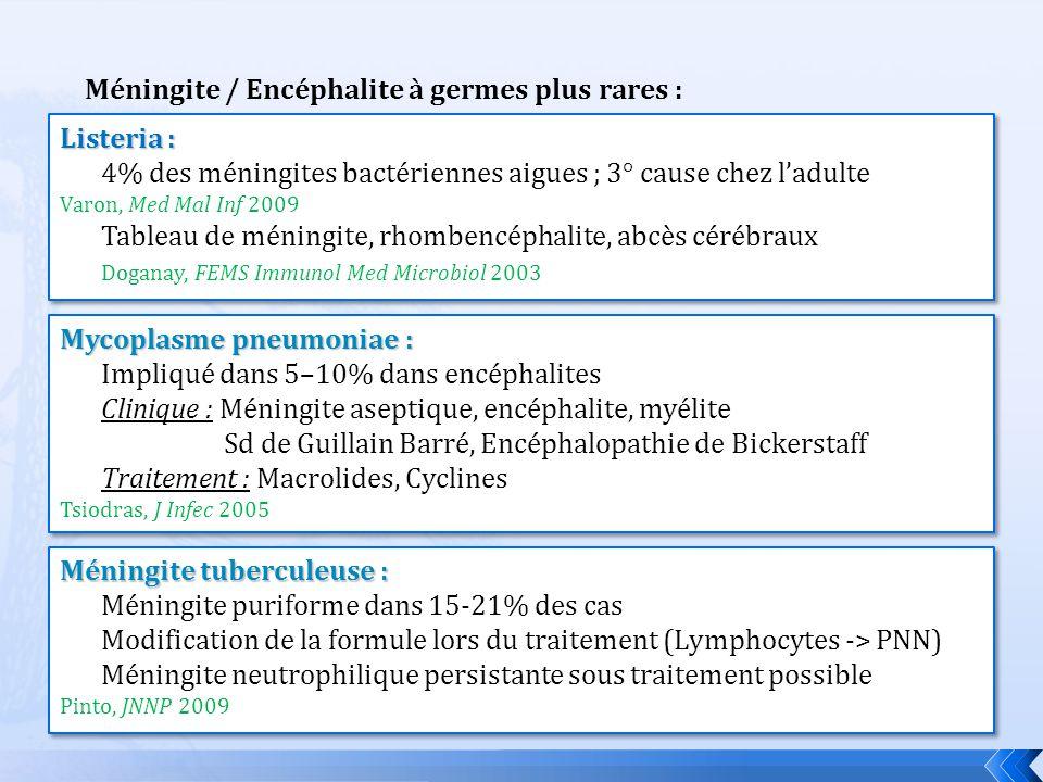 Méningite / Encéphalite à germes plus rares :