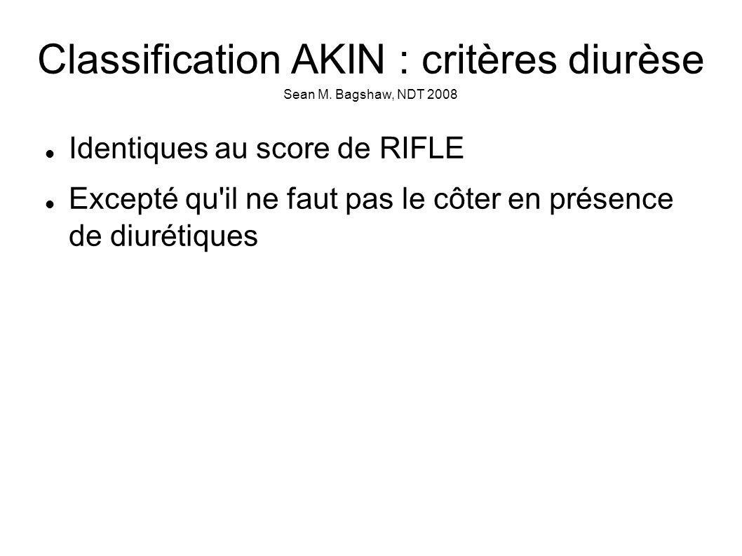 Classification AKIN : critères diurèse Sean M. Bagshaw, NDT 2008