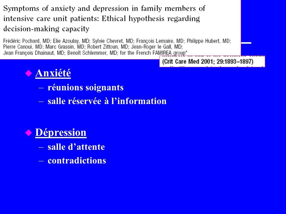 Anxiété Dépression réunions soignants salle réservée à l'information
