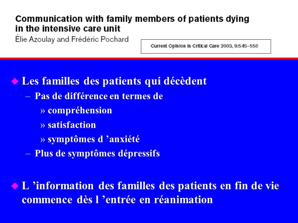 Les familles des patients qui décèdent