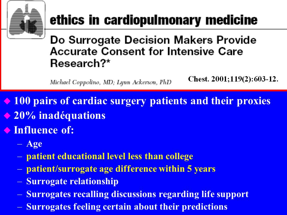 100 pairs of cardiac surgery patients and their proxies