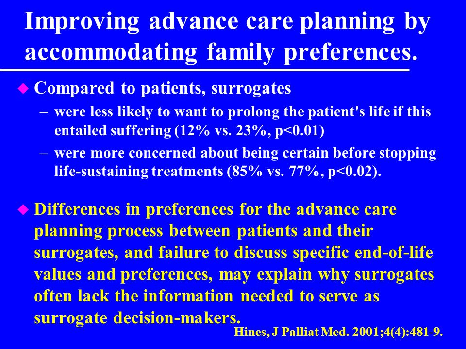 Improving advance care planning by accommodating family preferences.