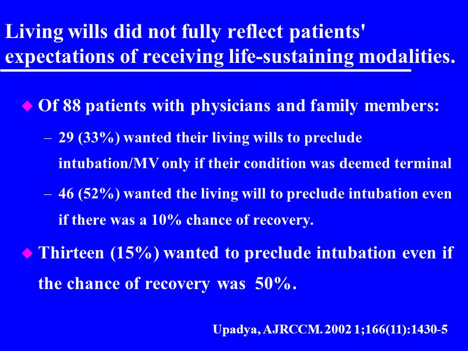 Living wills did not fully reflect patients expectations of receiving life-sustaining modalities.